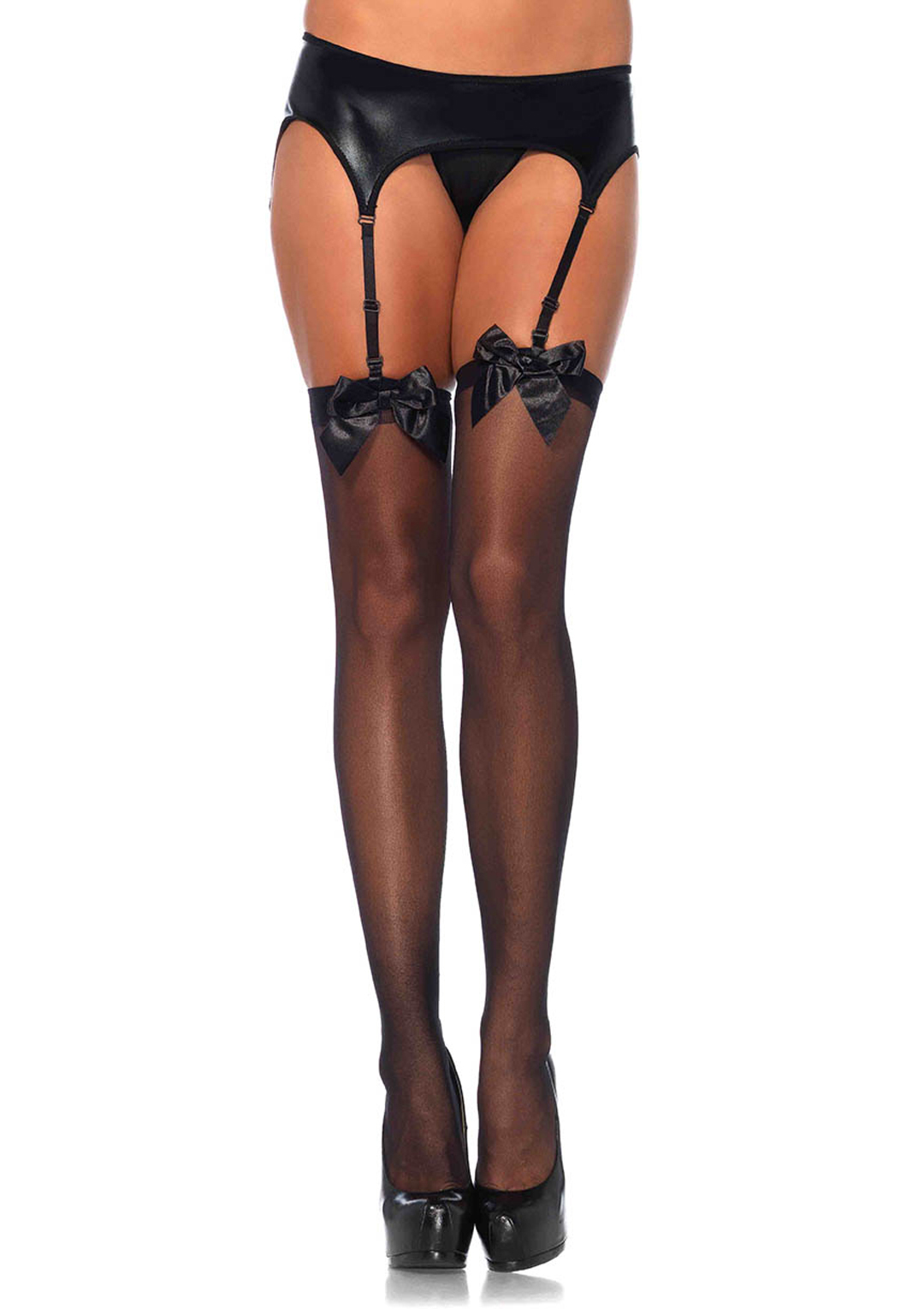 5deef8fb361 Leg Avenue 1911 Sheer Thigh High Nylon Stocking With Satin Bow White. About  this product. Stock photo  Picture 1 of 2 ...
