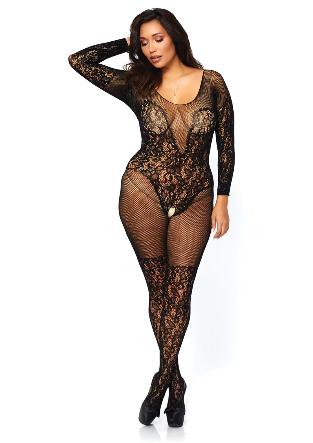 7c31c56f6cc Leg Avenue Vine Lace and Net Long Sleeved Bodystocking Queen Black. About  this product. Stock photo  Picture 1 of 2  Picture 2 of 2